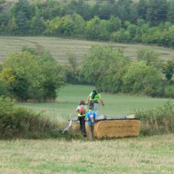 Traversée de champs sur des bottes de paille... Remercions au passage (c'est le mot !), pour sa délicate attention,  Yannick, propriétaire des terres traversées.